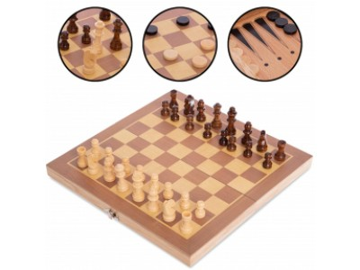 Шахматы, шашки, нарды 3 в 1 деревянные W3015