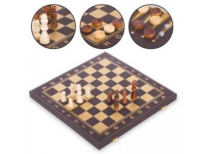 Шахматы, шашки, нарды 3 в 1 кожзам L3508