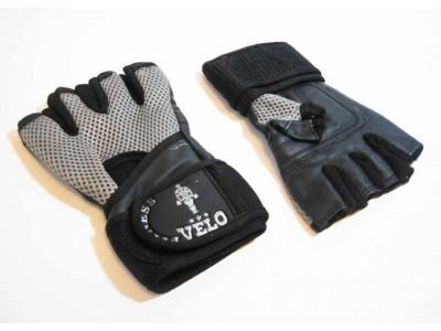 Перчатки тяжелоатлетические с напульсником VELO VL-8119