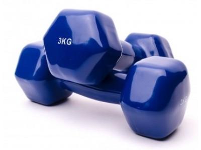 Гантели для фитнеса виниловые по 3 кг